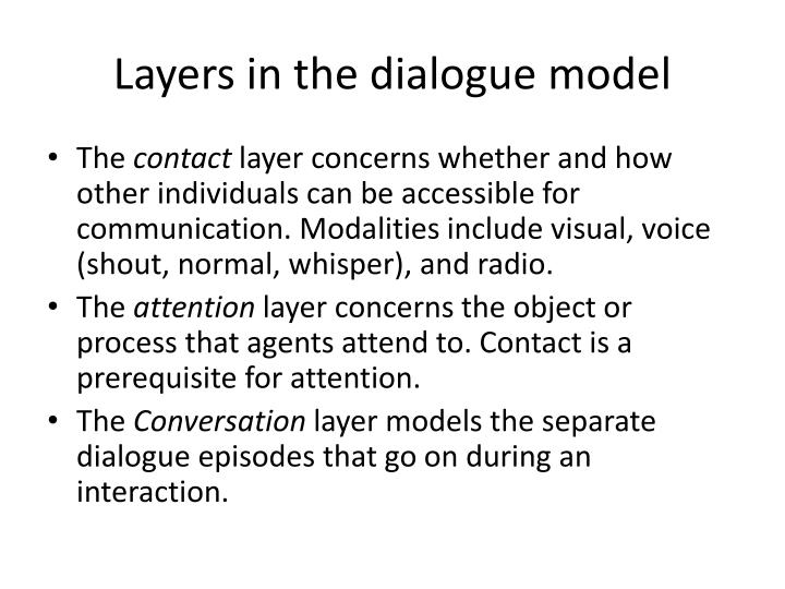 Layers in the dialogue model