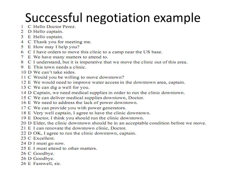 Successful negotiation example