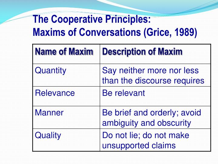 conversational maxims Abstract this study aims to describe how the participants (senders and receivers ) flout conversational maxims in short messages in this study, the source is.