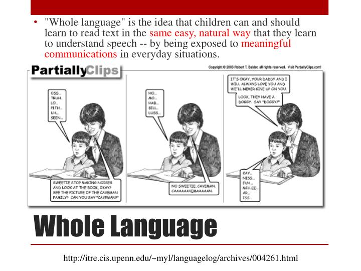 """Whole language"" is the idea that children can and should learn to read text in the"