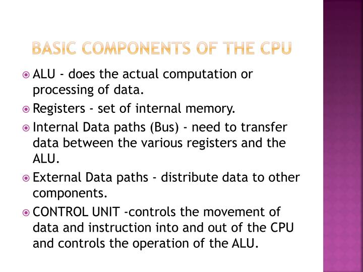 Basic components of the cpu