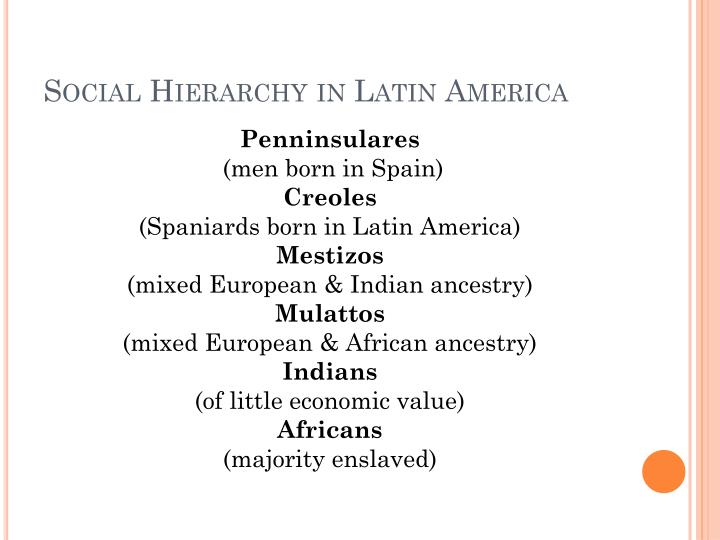Social Hierarchy in Latin America