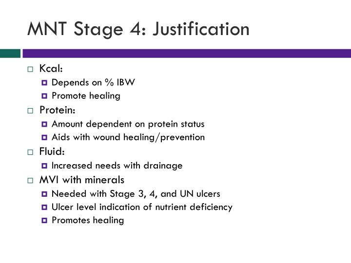 MNT Stage 4: Justification