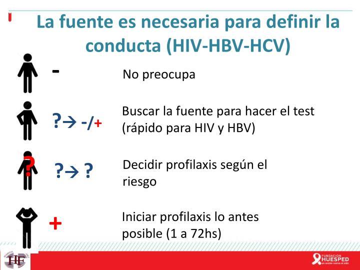 La fuente es necesaria para definir la conducta (HIV-HBV-HCV)