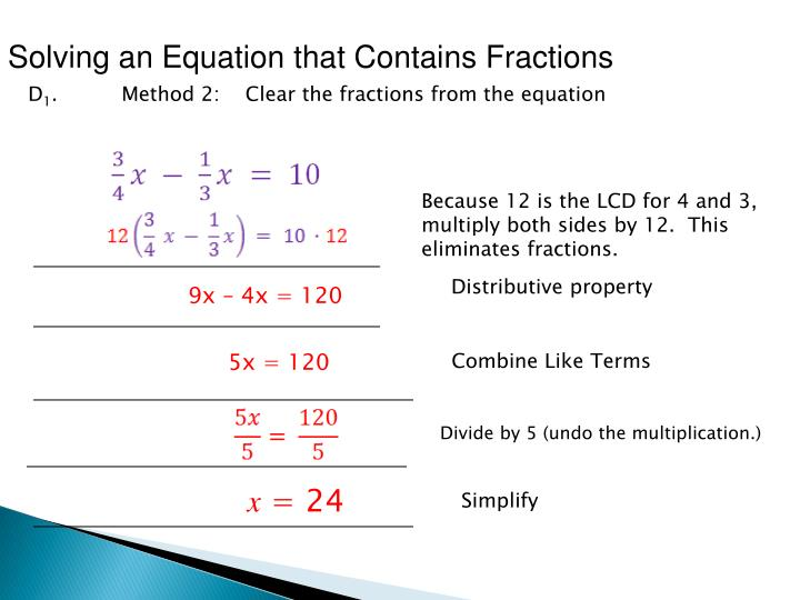 Solving an Equation that Contains Fractions