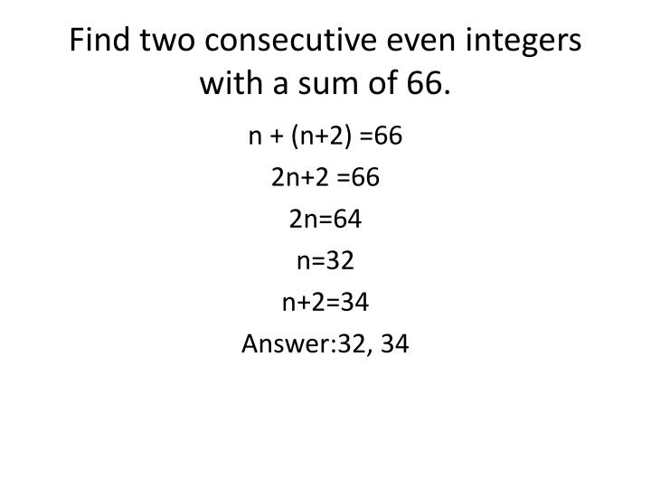 Find two consecutive even integers with a sum of 66.
