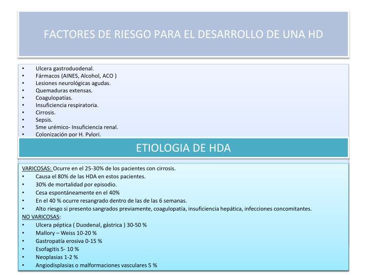 FACTORES DE RIESGO PARA EL DESARROLLO DE UNA HD
