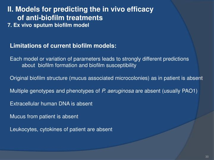 II. Models for predicting the in vivo efficacy