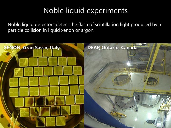 Noble liquid experiments