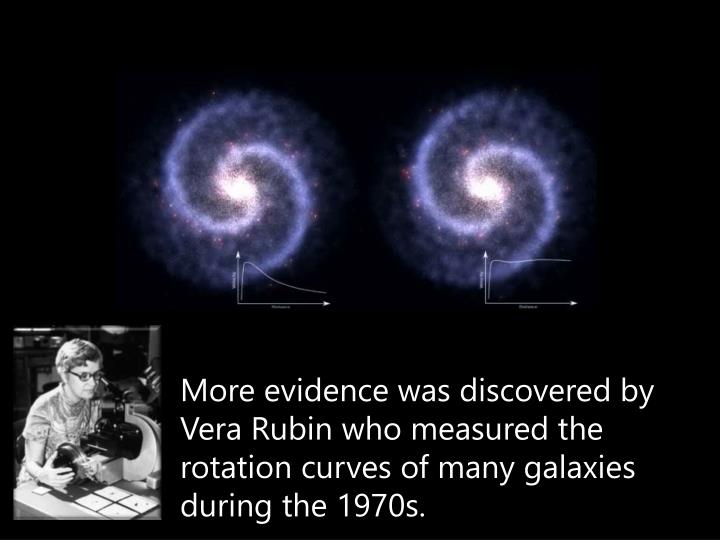 More evidence was discovered by Vera Rubin who measured the rotation curves of many galaxies during the 1970s.