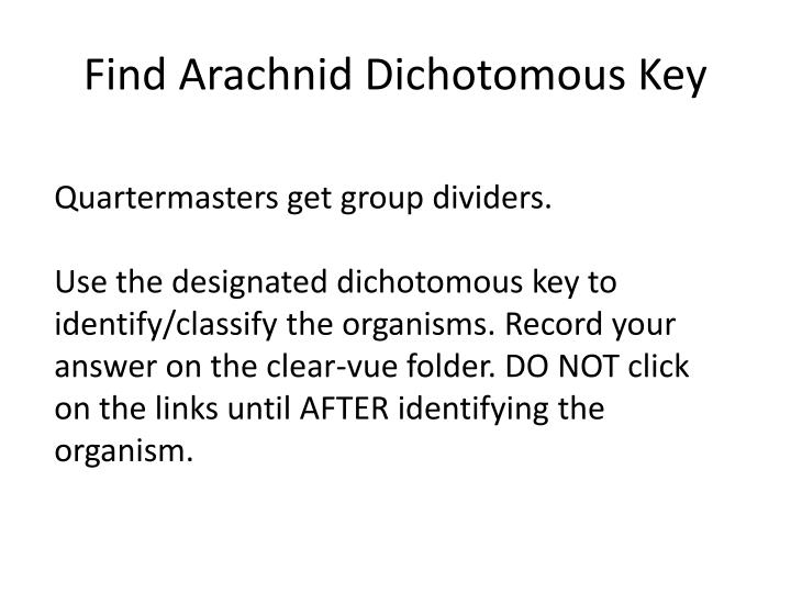 Find Arachnid Dichotomous Key