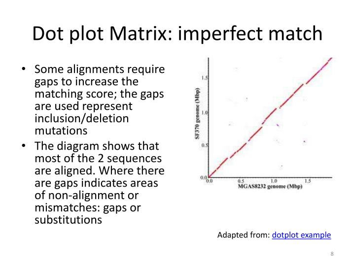 Dot plot Matrix: imperfect match