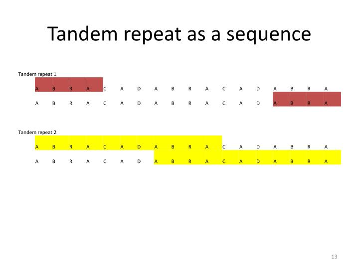 Tandem repeat as a sequence