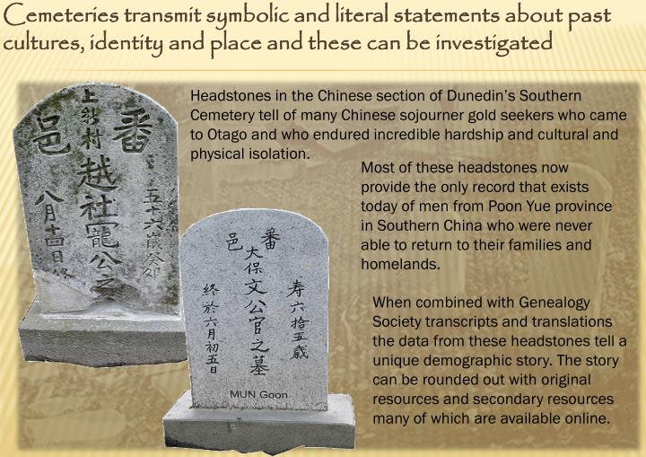Cemeteries transmit symbolic and literal statements about past cultures, identity and place and these can be investigated