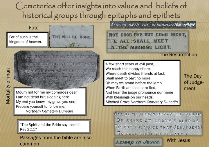 Cemeteries offer insights into values and  beliefs of historical groups through epitaphs and epithets