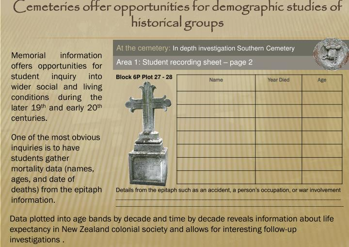 Cemeteries offer opportunities for demographic studies of historical groups