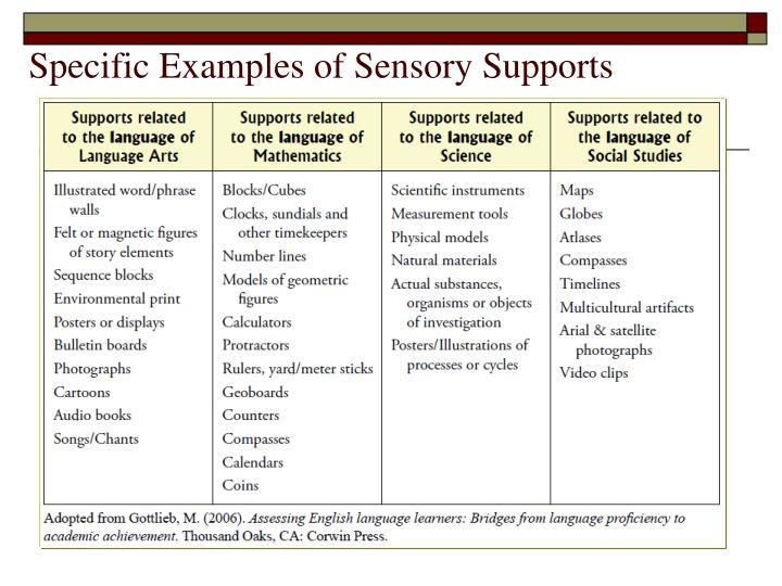 Specific Examples of Sensory Supports