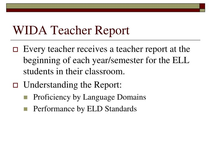 WIDA Teacher Report