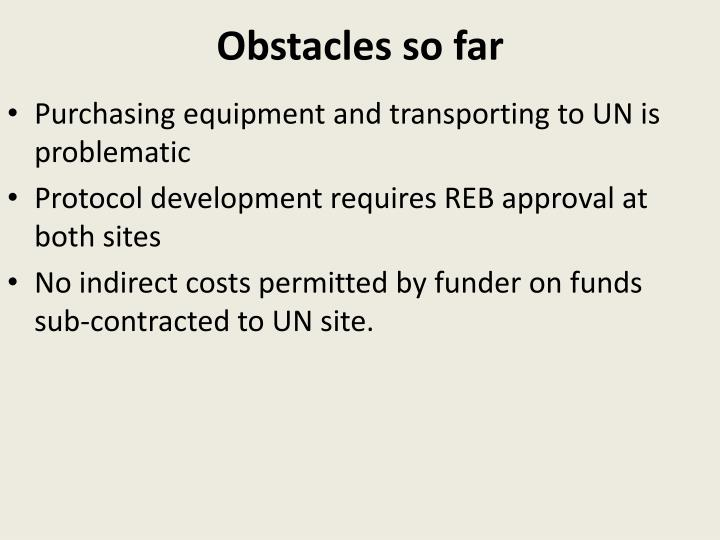 Obstacles so far
