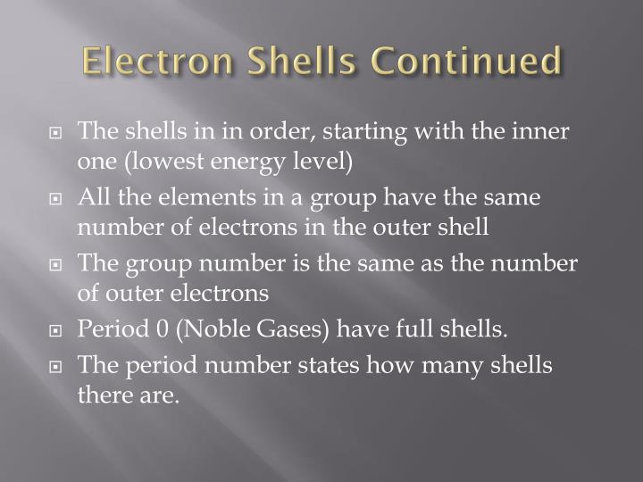 Electron Shells Continued