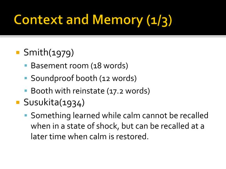 Context and Memory (1/3)