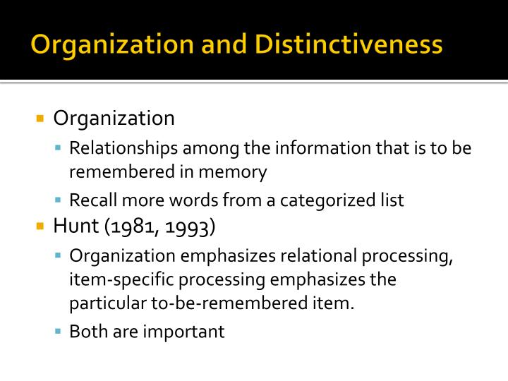 Organization and Distinctiveness