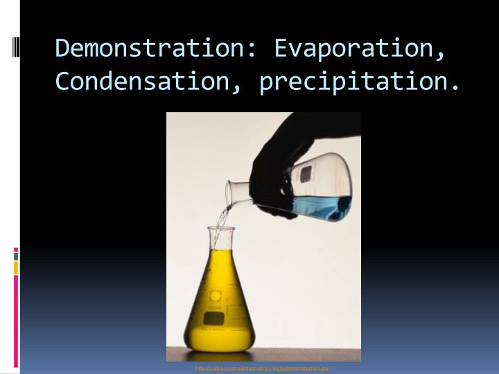 Demonstration: Evaporation, Condensation, precipitation.