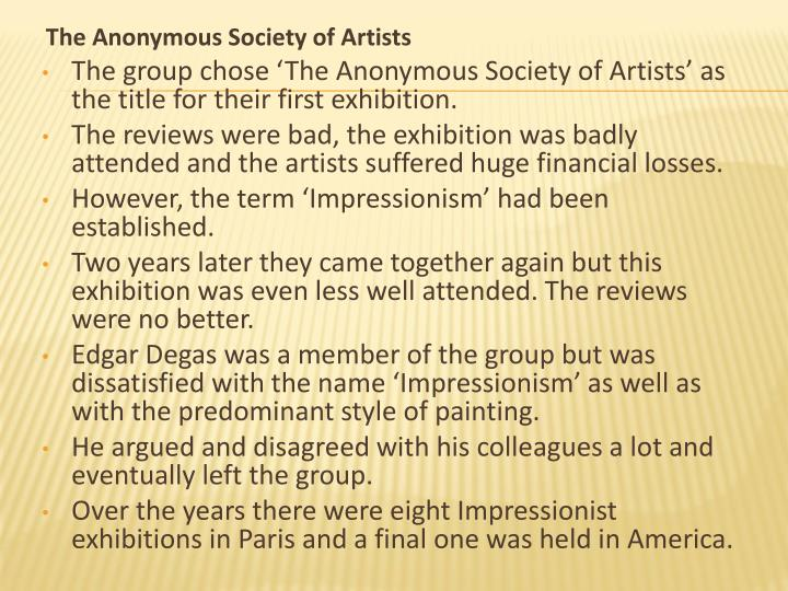 The Anonymous Society of Artists