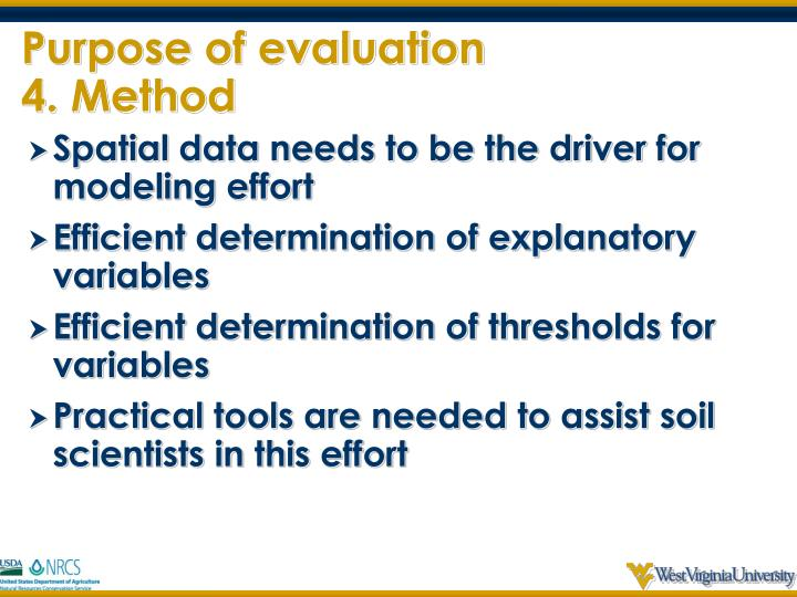 Purpose of evaluation