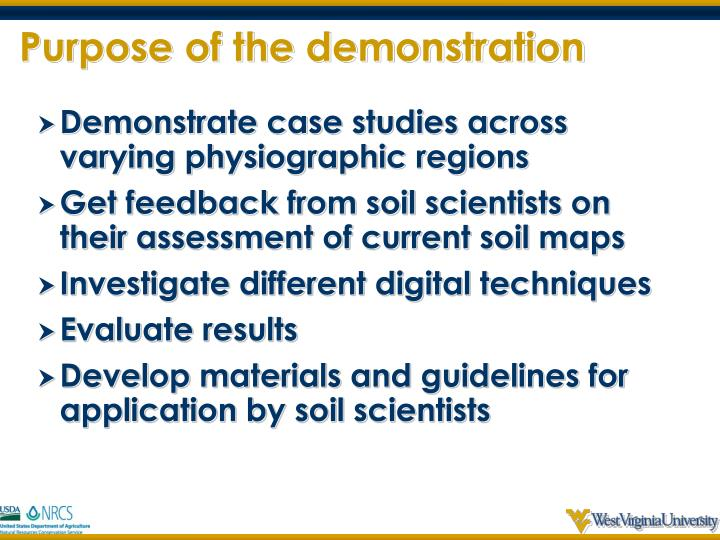 Purpose of the demonstration