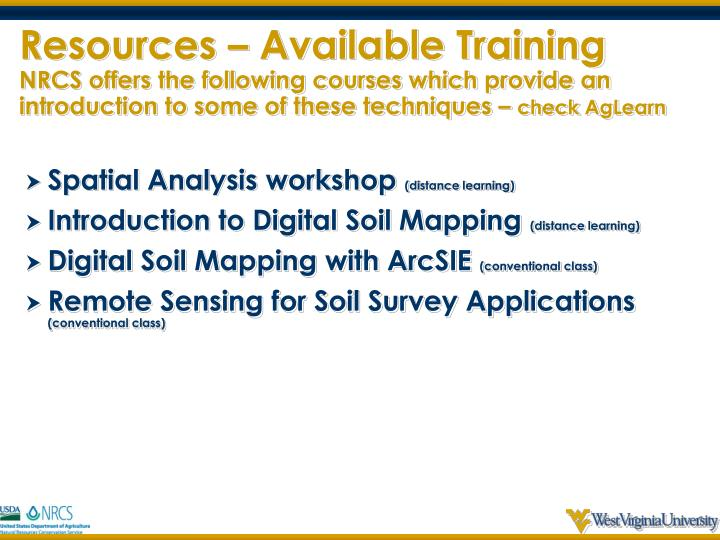 Resources – Available Training