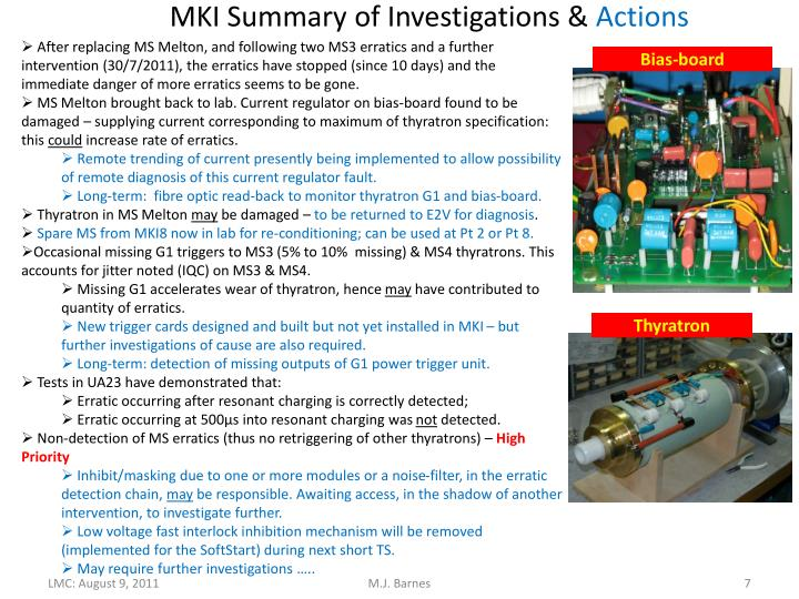 MKI Summary of Investigations &