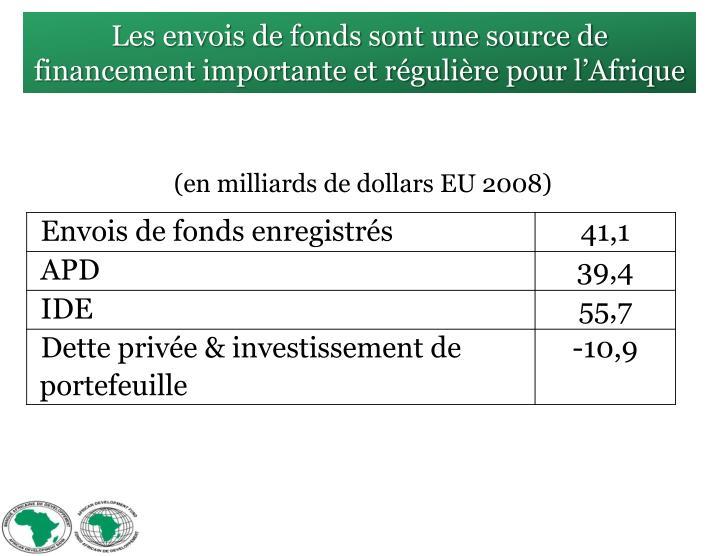 Les envois de fonds sont une source de financement importante et régulière pour l'Afrique