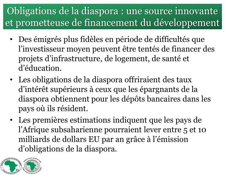 Obligations de la diaspora : une source innovante et prometteuse de financement du développement
