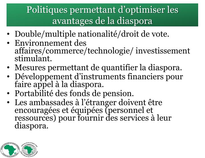 Politiques permettant d'optimiser les avantages de la diaspora