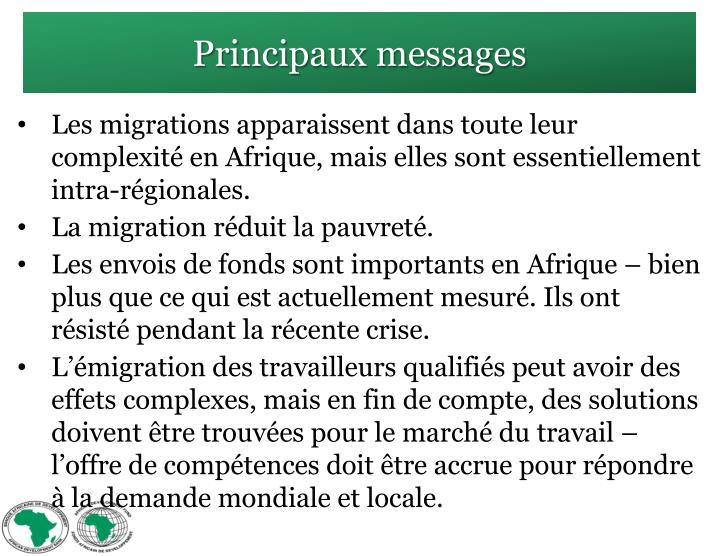Principaux messages