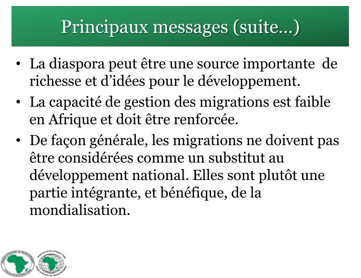 Principaux messages (suite…)