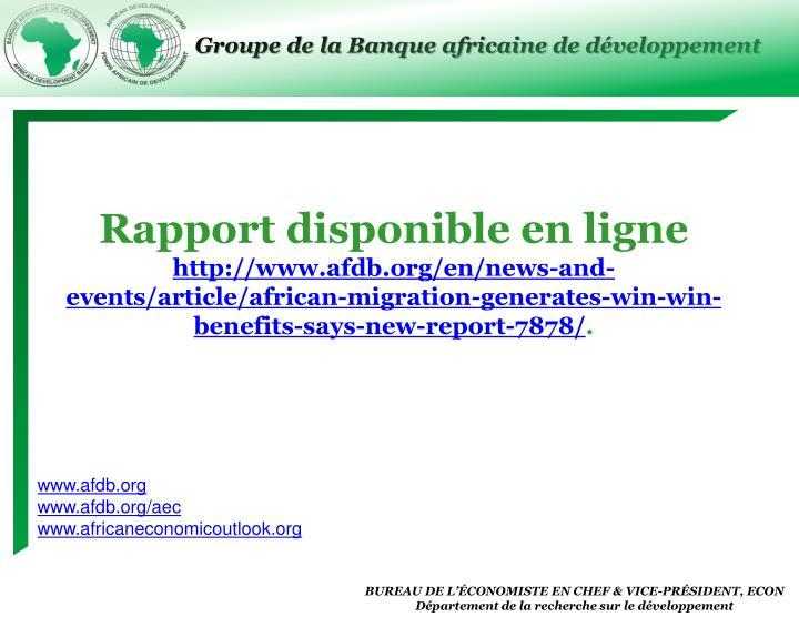 Rapport disponible en ligne