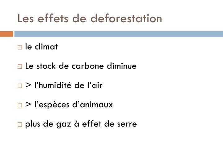 Les effets de deforestation