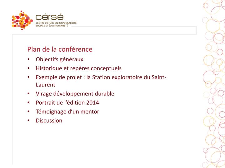 Plan de la conférence