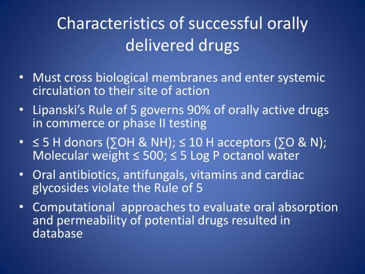 Characteristics of successful orally delivered drugs