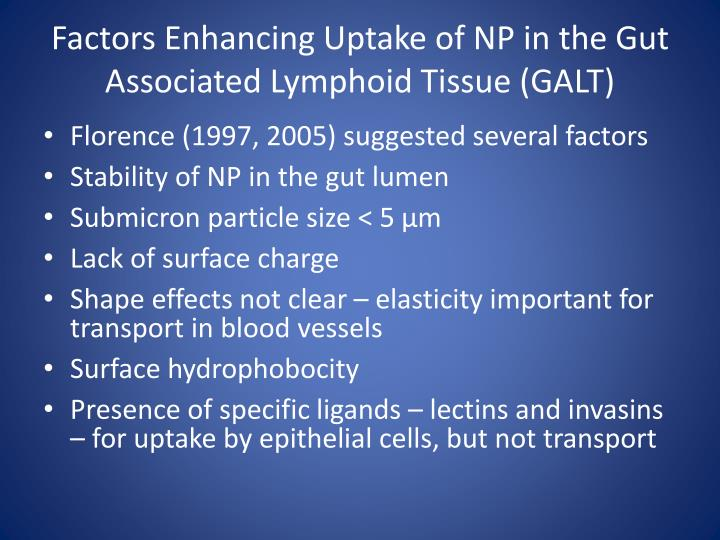 Factors Enhancing Uptake of NP in the Gut Associated Lymphoid Tissue (GALT)