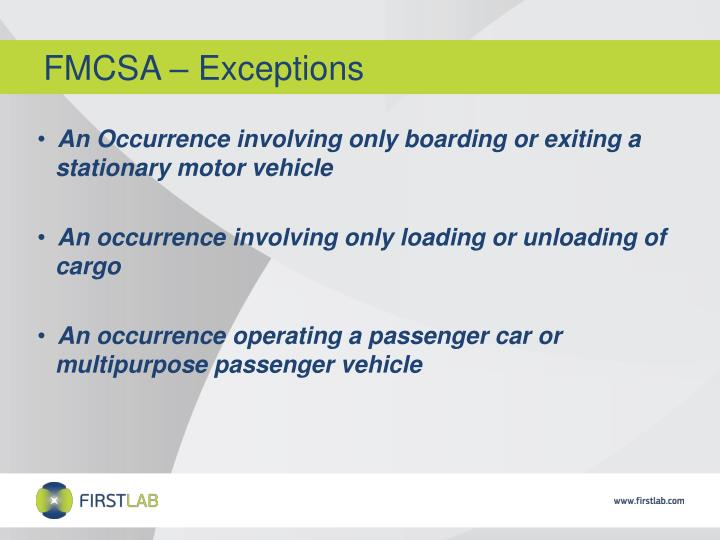 FMCSA – Exceptions