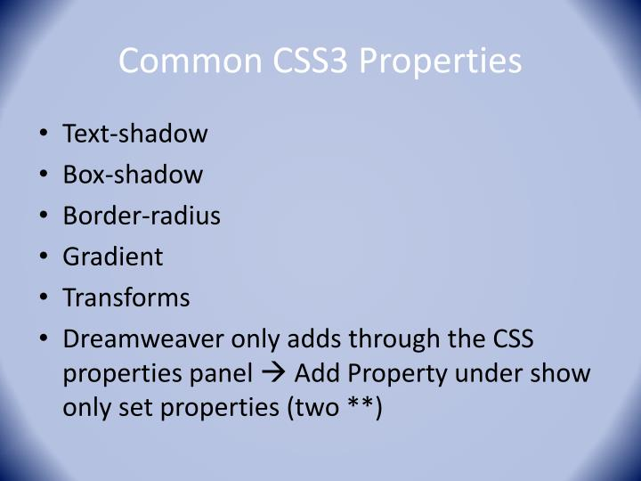 Common CSS3 Properties
