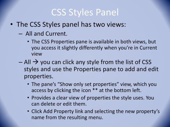 CSS Styles Panel
