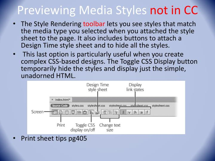 Previewing Media Styles