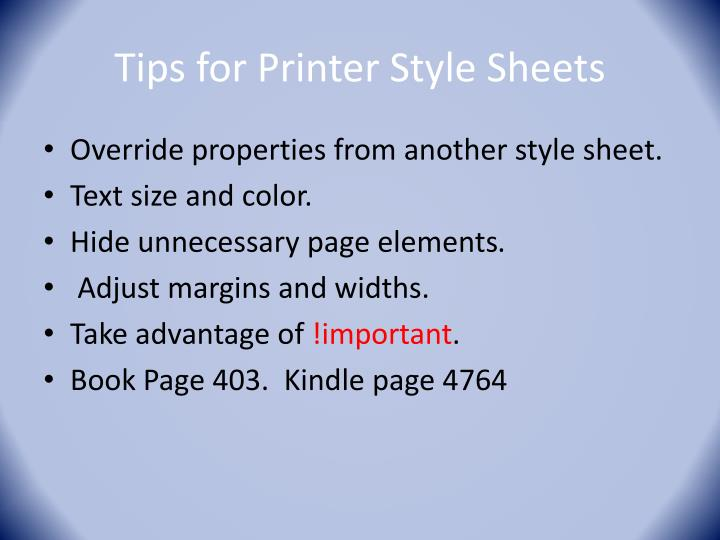 Tips for Printer Style