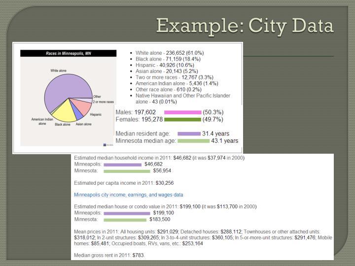 Example: City Data