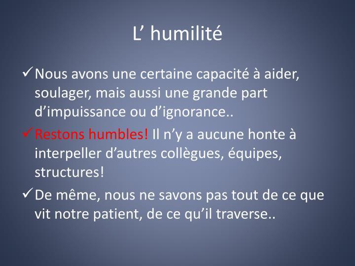 L' humilité