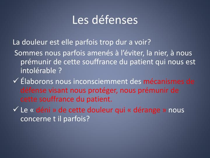Les défenses
